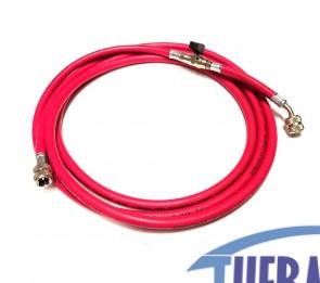 Flessibile con rubinetto R407/R22 - Rosso - 3 MT