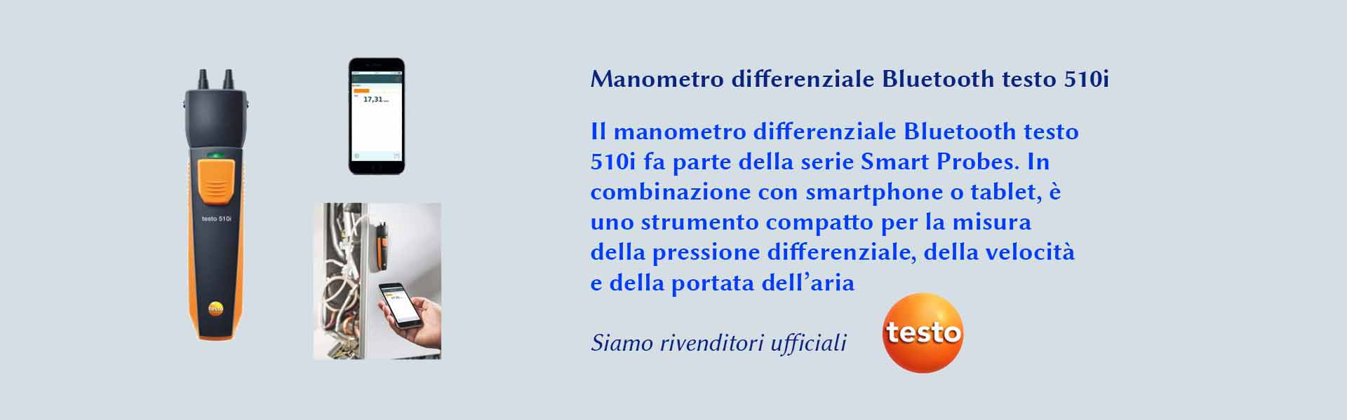 manometro differenziale bluethooth testo 510i della serie Smart Probes